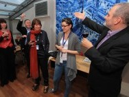 Dragon Forum Pitching, International Cultural Centre, from the right: Krzysztof Gierat, Zofia Ścisłowska, Yael Katzir ('Violins in Wartime'), Michael Sobelman (PR manager of Embassy of Israel)