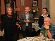 A banquet in honor of the winner, Klezmer Hois, Kazimierz District; in the picture: Helena Třeštíková, Krzysztof Gierat, Barbara Orlicz-Szczypuła, Marcin Giżycki