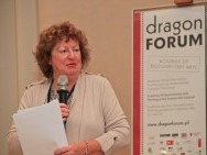 Dragon Forum Pitching, held in International Cultural Centre, in the picture:  Marijke Rawie (CEO of ExpertDocs, The Netherlands)