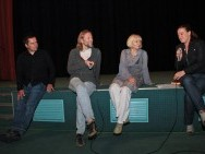 The Q&A session after the screenings, Bogumił Godfrejów & Grzegorz Pacek ('Dad Went Fishing') and Lidia Duda ('Entangled')