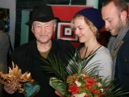 Jonas Mekas with his daughter and son
