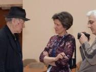 Konferencja prasowa Jonasa Mekasa- Jonas Mekas, Jadwiga Hućkova, Tomas Hućko