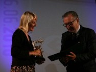 Marie Kjellson with Silver Dragon for 'Incident by a Bank'